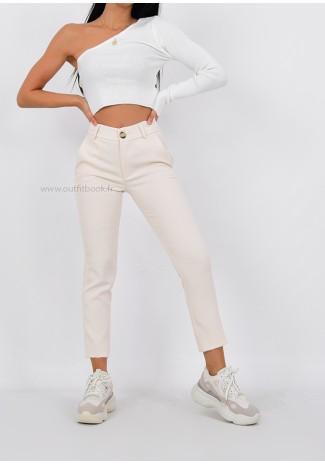 Pantalon à pince beige taille haute