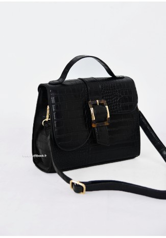 City bag in black croc
