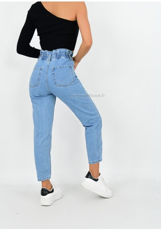 Jean mom fit paperbag taille haute