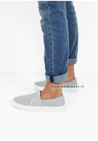 Slip on en toile grise