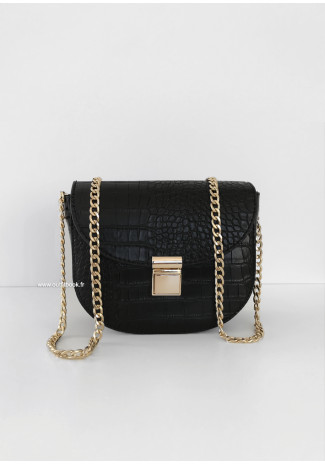 Black croc cross body bag with chain