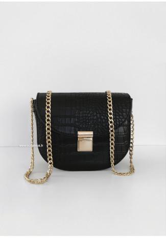 Mini sac bandoulière croco avec chaîne - Noir