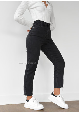 High waisted mom fit jeans in dark grey