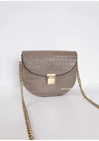 Petit sac croco avec bandoulière chaîne - Beige
