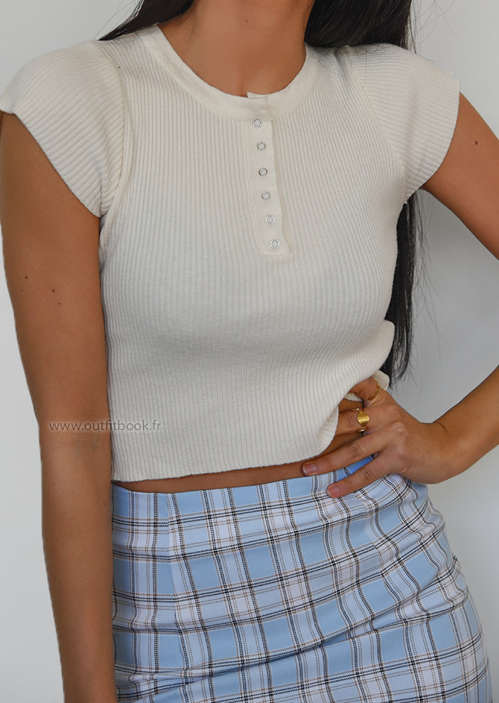 Cropped t-shirt with button detail in beige