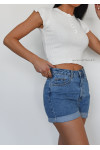 Cropped t-shirt with button detail in white