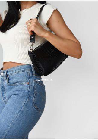 Shoulder bag in black croc