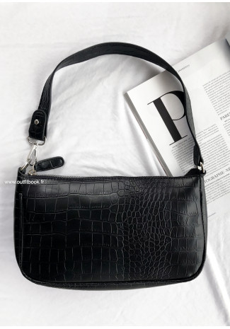 Shoulder bag in black croc