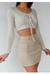 Beige top with ruched front detail