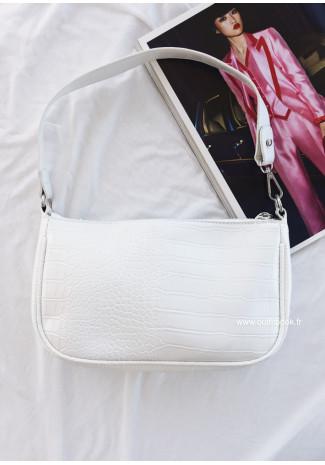 Shoulder bag in white croc