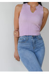 Top with notch detail in pastel purple