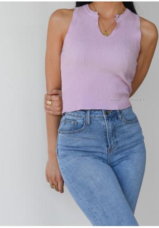 Top côtelé cranté violet pastel
