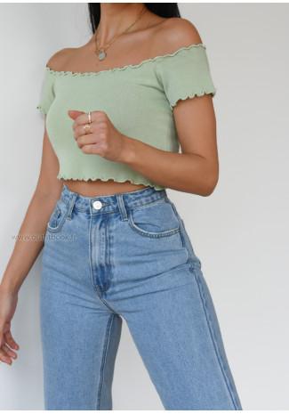 Off shoulder top in pastel green