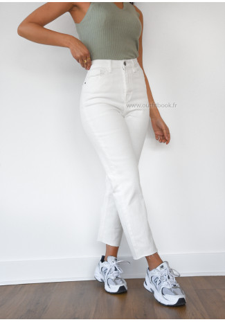 Jean mom fit blanc taille haute