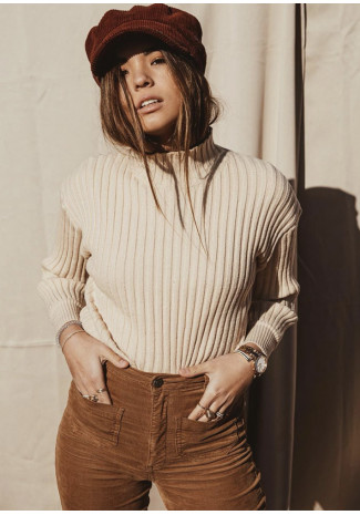 Ribbed high neck jumper in beige