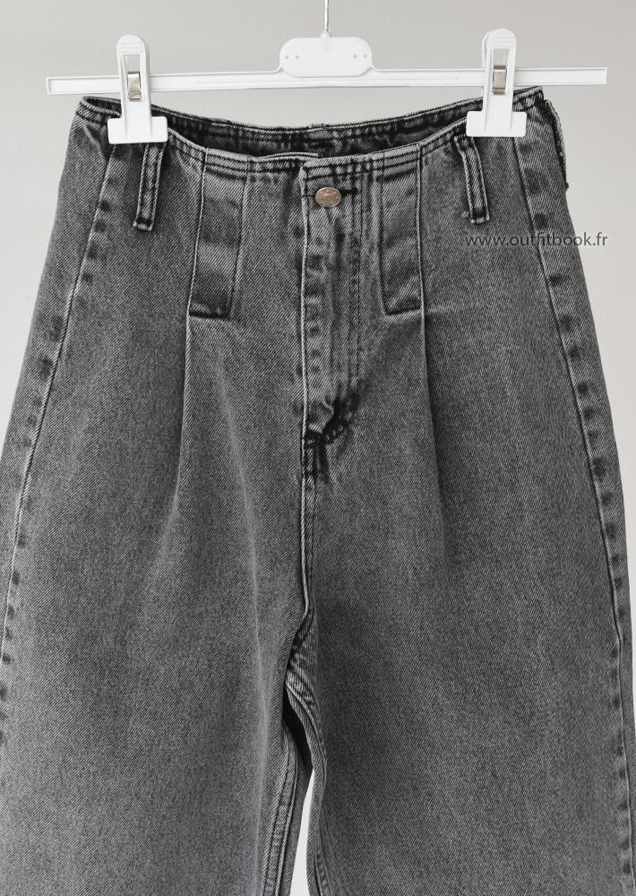 Jean taille haute gris effet baggy
