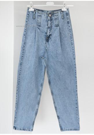 Jean taille haute bleu effet baggy