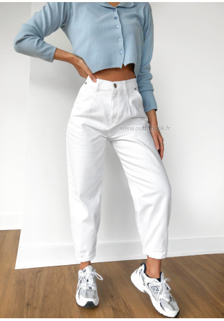 Jean slouchy taille haute blanc
