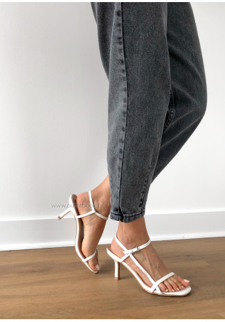 Strappy heeled sandals in white