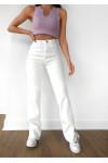 Jean droit taille haute fendu sur les côtés blanc