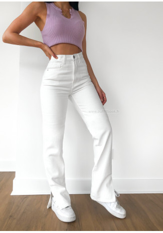 White Straight Leg Split Detail Jeans