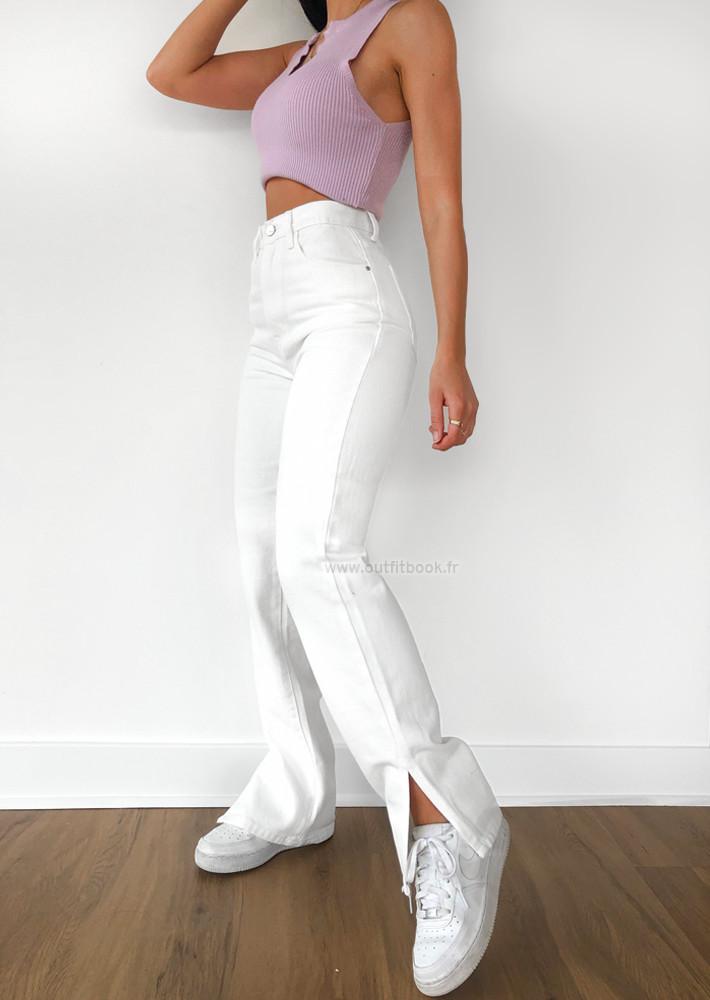 White Straight Leg Split Detail Jeans