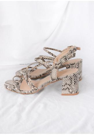 Sandales beige à talon carré et imprimé serpent