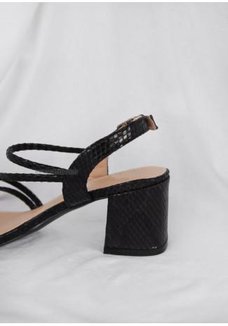 Black Croc block heel sandals