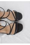 Sandales noires à talon carré imprimé croco