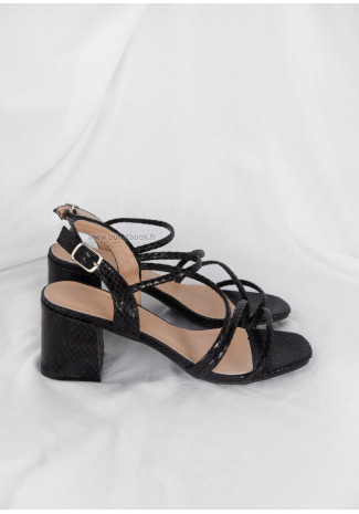 Black Croc block heel sandals