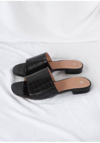 Flat black mules with faux croc