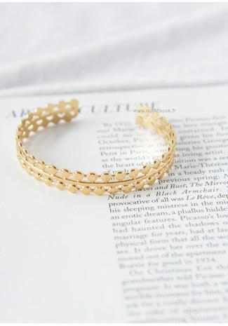 Bracelet jonc doré à double rang