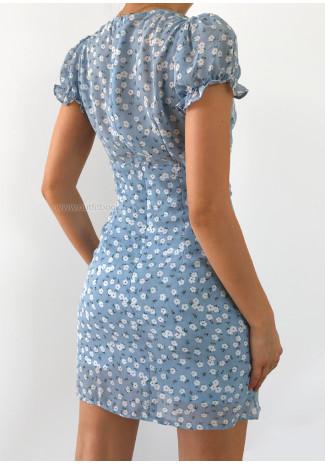 Robe bleu imprimée fleurie avec fente