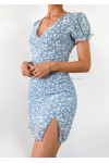 Robe bleu imprimé fleurie avec fente