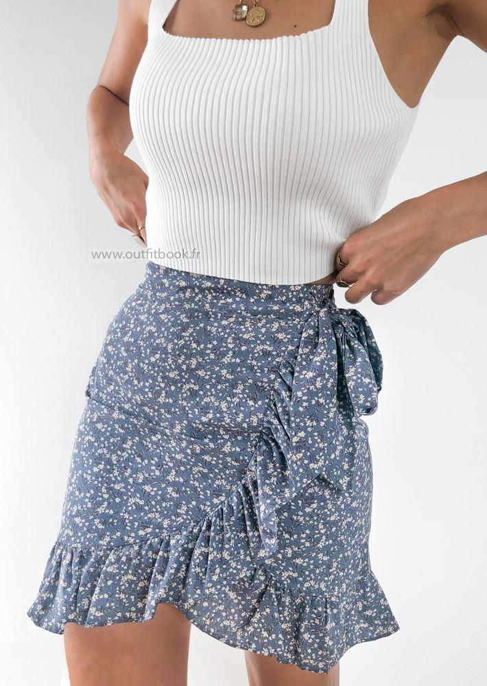 Jupe bleu imprimé fleurie à volants