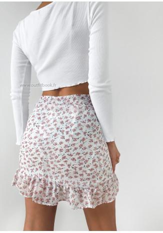 Jupe blanche imprimé fleurie à volants