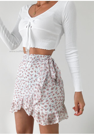 Floral print ruffle skirt in white