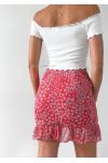 Jupe rouge imprimée fleurie à volants