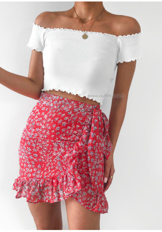 Floral print ruffle skirt in red
