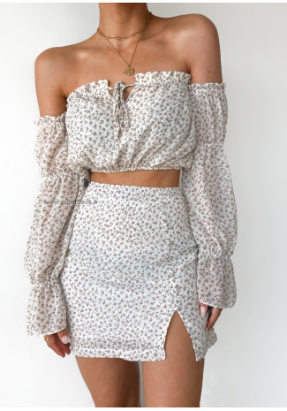 Floral print off shoulder crop top in white