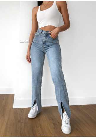 Split front high waisted jeans