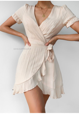 Wrap dress in beige