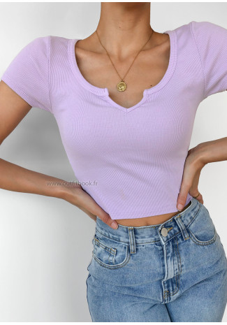 T-shirt with notch detail in lilac