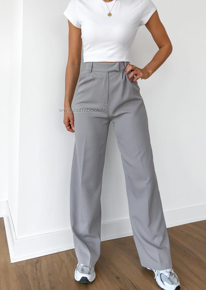 Pantalon large gris