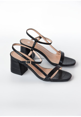 Croc effect block heeled sandals in black