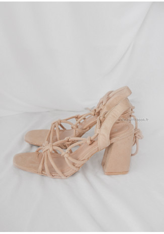 Lace Up Block Heel Sandal in Beige