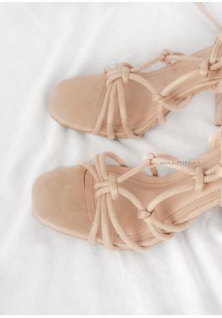 Lace Up Block Heel Sandal in Beige