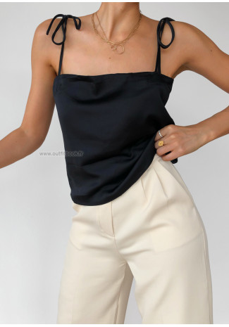 Satin top with tie straps in black