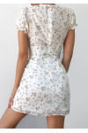 Floral dress with slit side in white