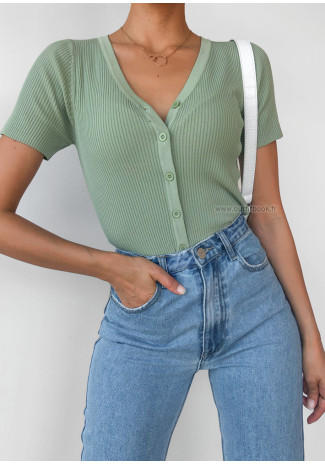 Button through ribbed cardi in green